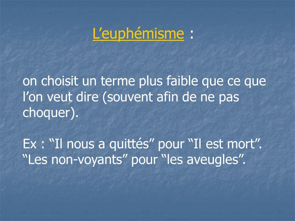 L'euphémisme :on choisit un terme plus faible que ce que l'on veut dire (souvent afin de ne pas choquer).