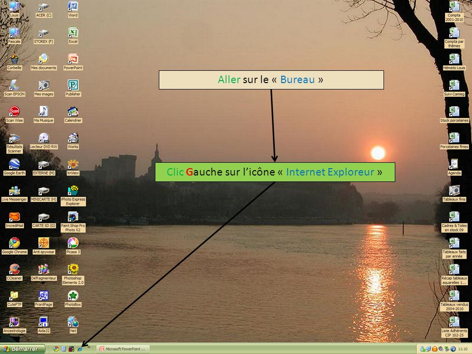 Clic Gauche sur l'icône « Internet Exploreur »