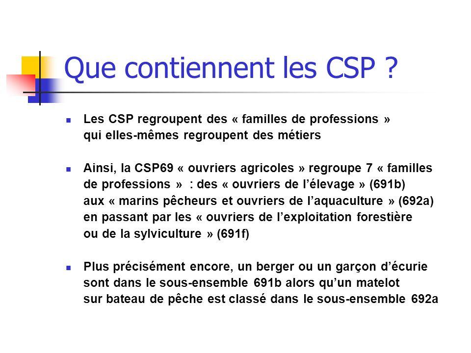 Que contiennent les CSP