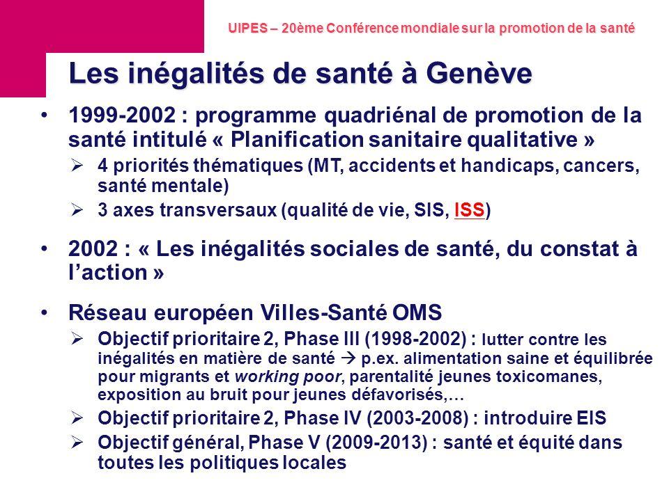 Les inégalités de santé à Genève