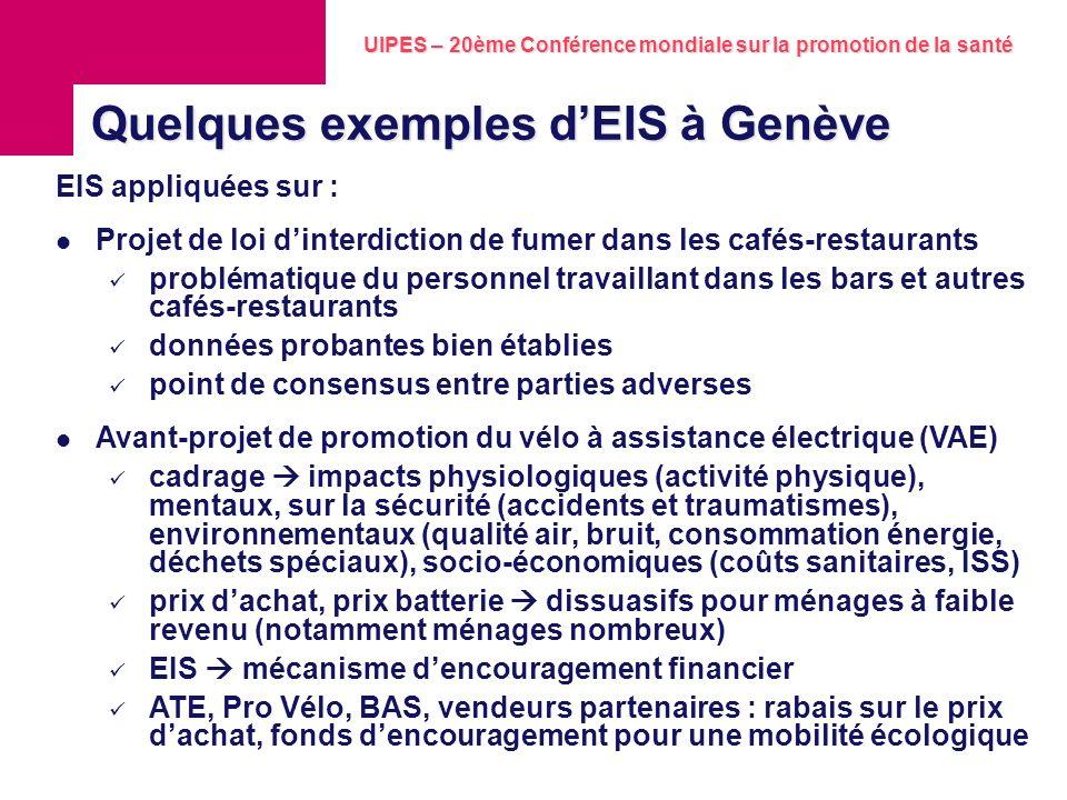 Quelques exemples d'EIS à Genève