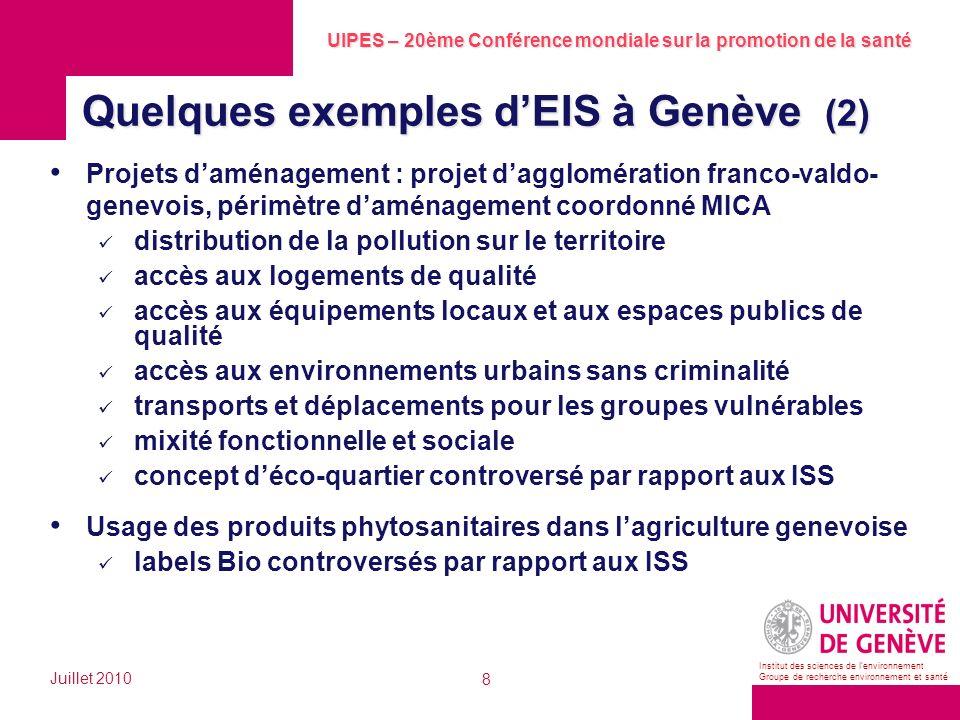 Quelques exemples d'EIS à Genève (2)