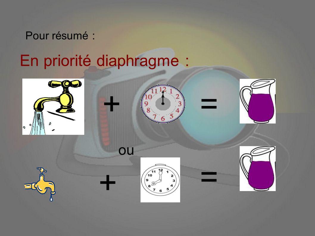 Pour résumé : En priorité diaphragme : + = ou = +
