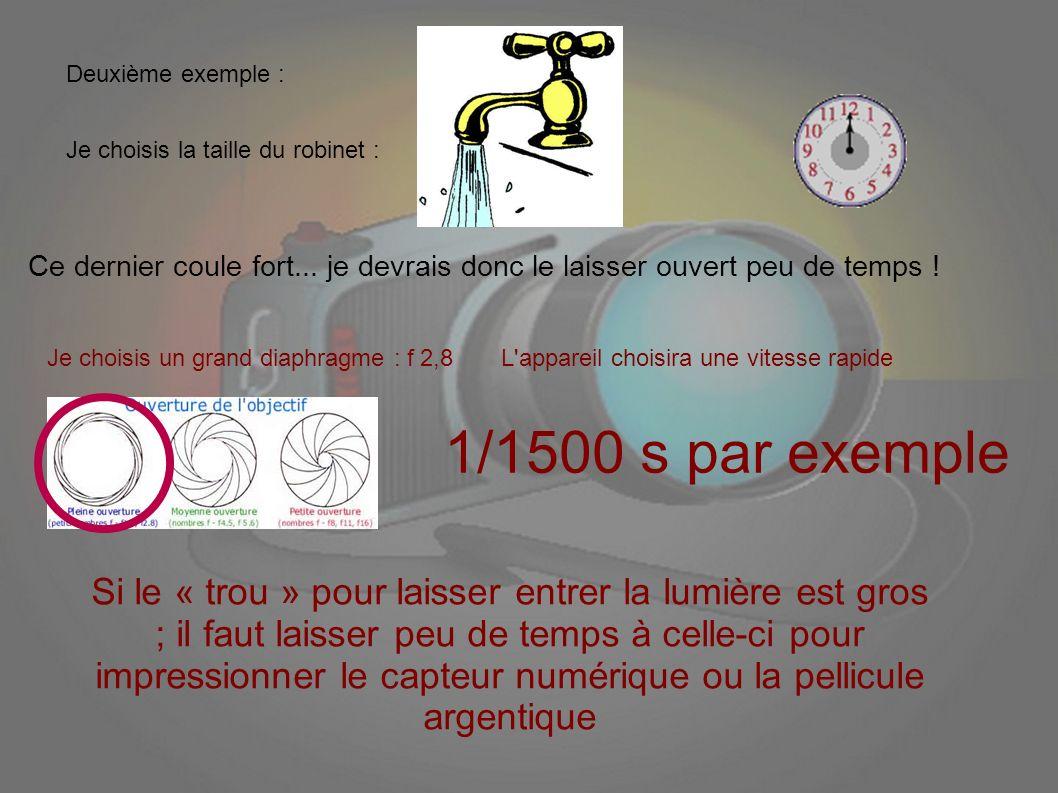 Deuxième exemple : Je choisis la taille du robinet : Ce dernier coule fort... je devrais donc le laisser ouvert peu de temps !