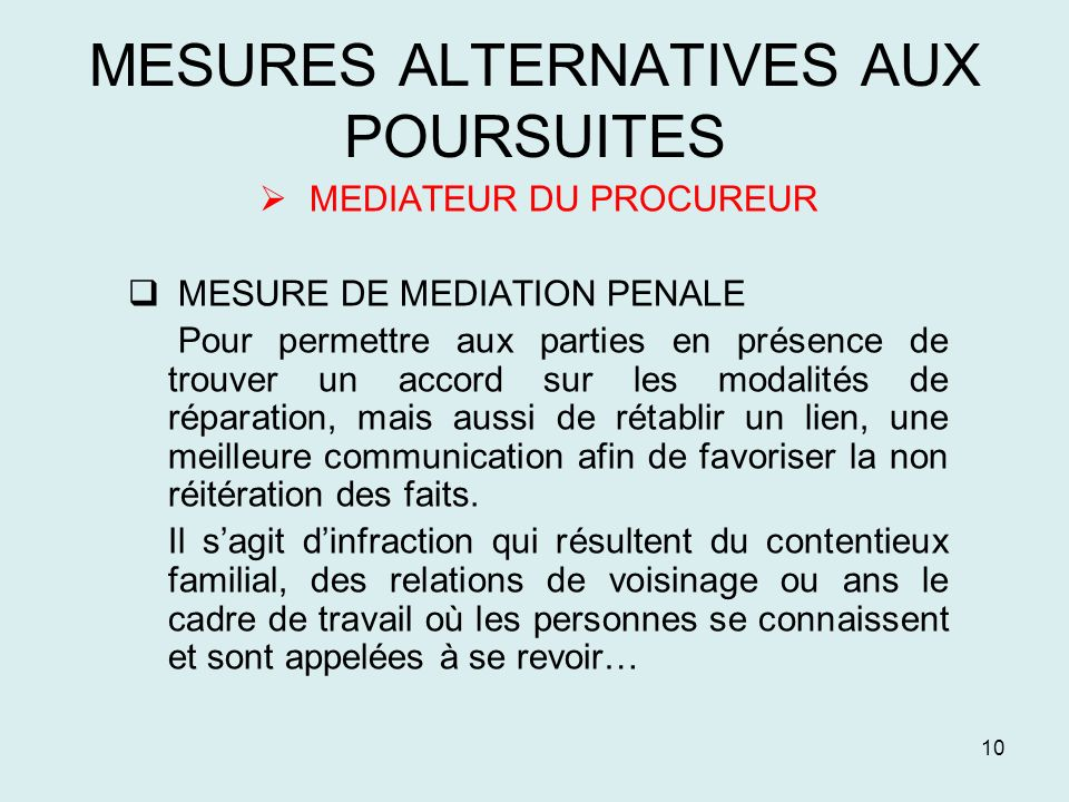 MESURES ALTERNATIVES AUX POURSUITES