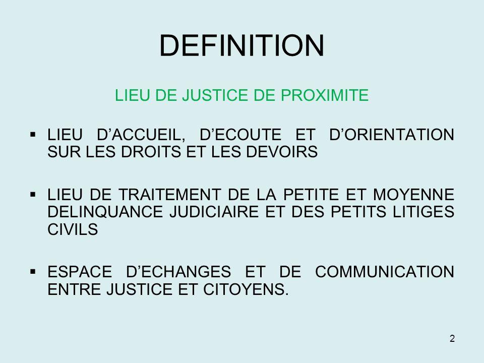 LIEU DE JUSTICE DE PROXIMITE