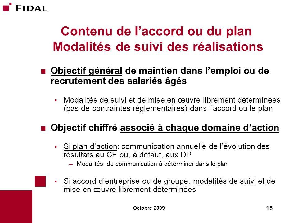 Contenu de l'accord ou du plan Modalités de suivi des réalisations