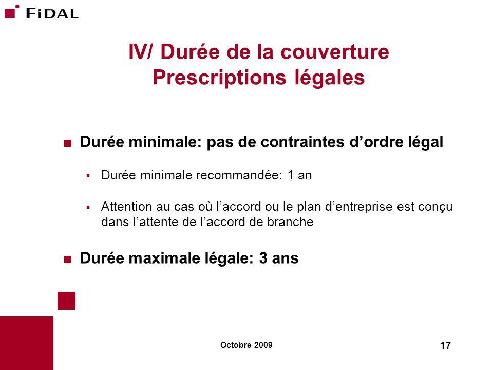 IV/ Durée de la couverture Prescriptions légales