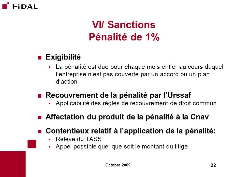 VI/ Sanctions Pénalité de 1%