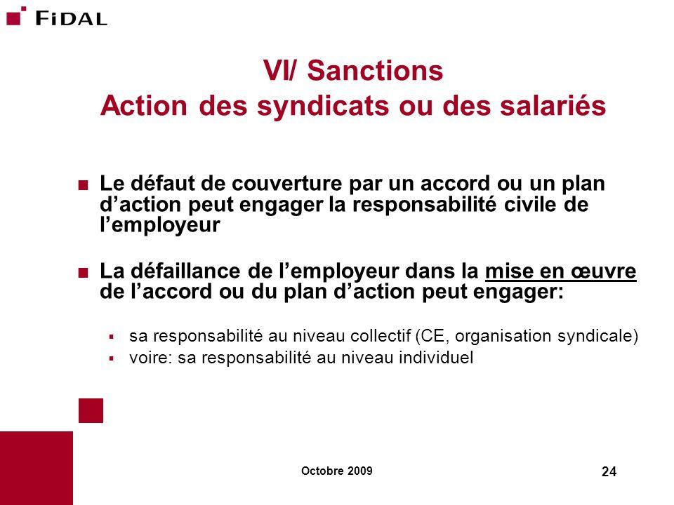VI/ Sanctions Action des syndicats ou des salariés