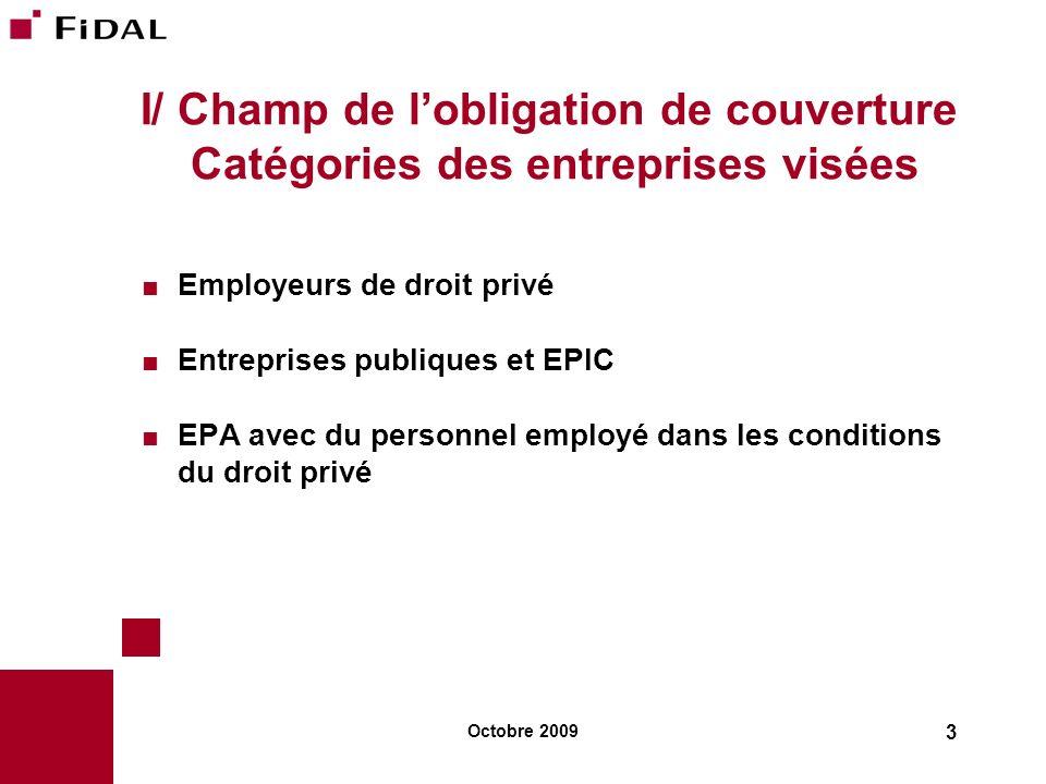 I/ Champ de l'obligation de couverture Catégories des entreprises visées