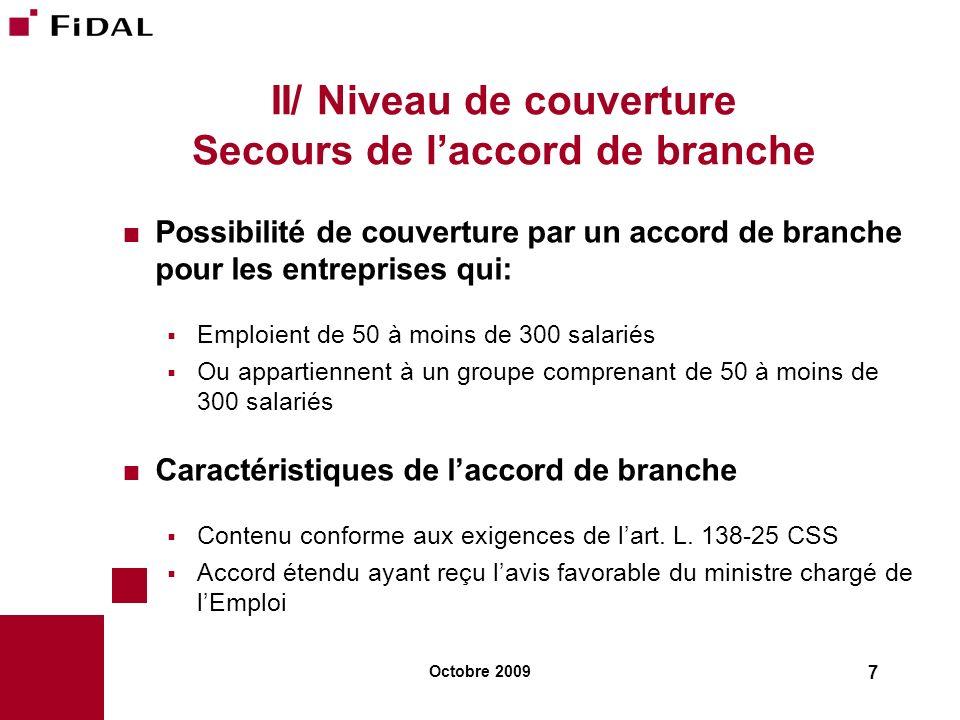 II/ Niveau de couverture Secours de l'accord de branche