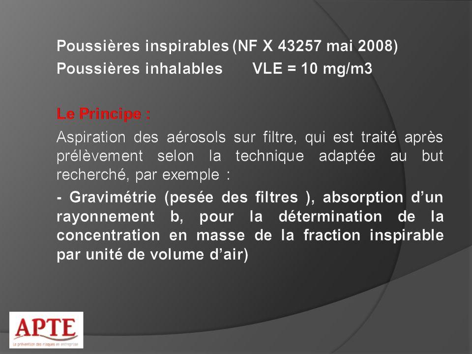 Poussières inspirables (NF X 43257 mai 2008)