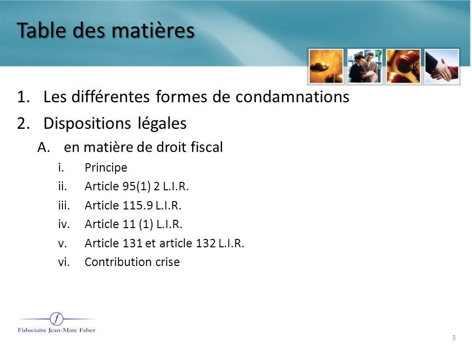 Table des matières Les différentes formes de condamnations