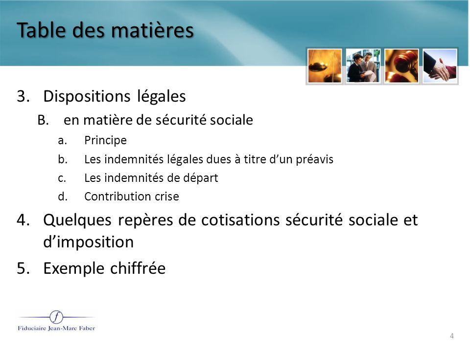 Table des matières 3. Dispositions légales