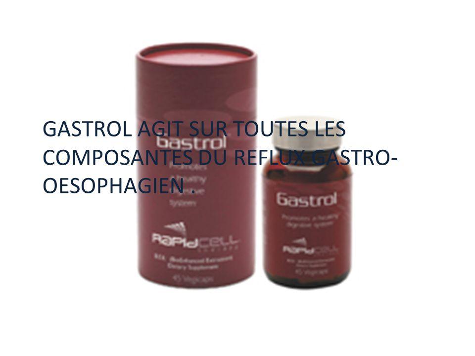 GASTROL AGIT SUR TOUTES LES COMPOSANTES DU REFLUX GASTRO-OESOPHAGIEN .