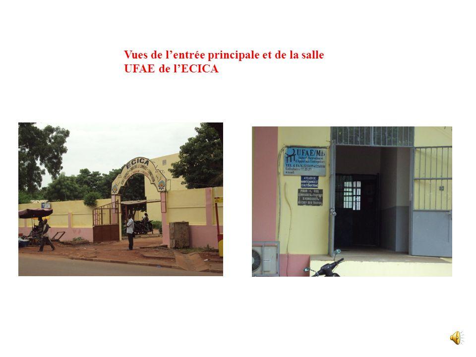Vues de l'entrée principale et de la salle UFAE de l'ECICA