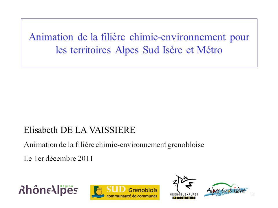 Animation de la filière chimie-environnement pour les territoires Alpes Sud Isère et Métro