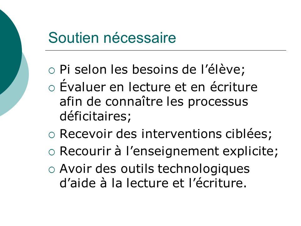 Soutien nécessaire Pi selon les besoins de l'élève;