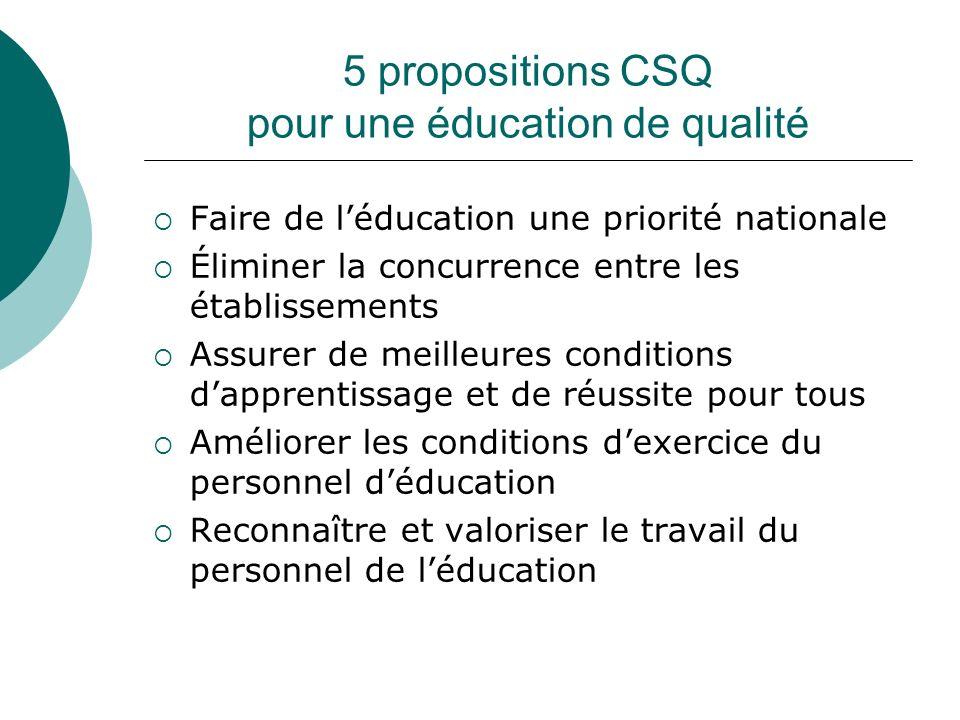 5 propositions CSQ pour une éducation de qualité
