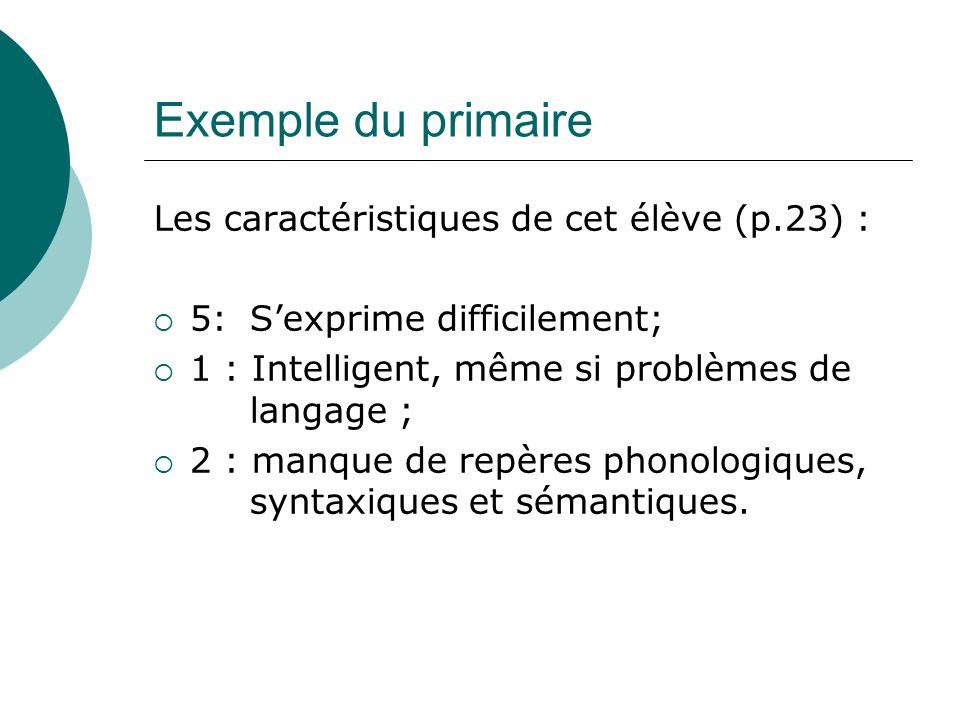 Exemple du primaire Les caractéristiques de cet élève (p.23) :