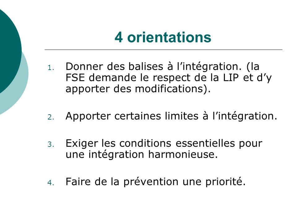 4 orientations Donner des balises à l'intégration. (la FSE demande le respect de la LIP et d'y apporter des modifications).