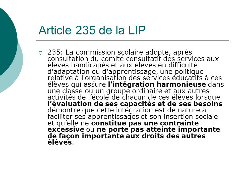Article 235 de la LIP