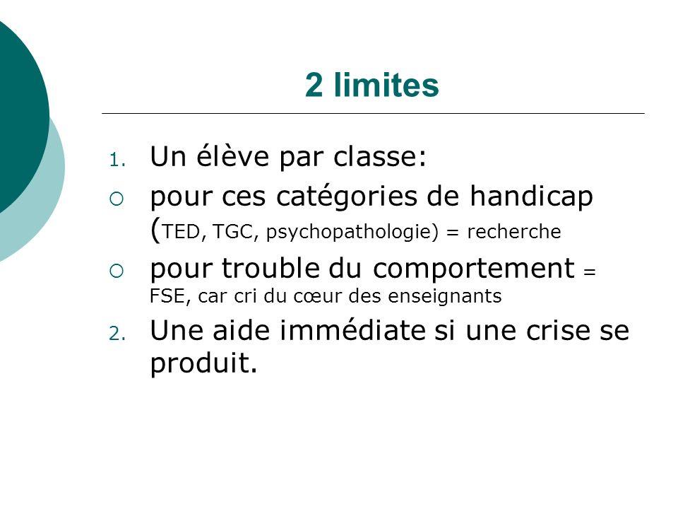2 limites Un élève par classe: