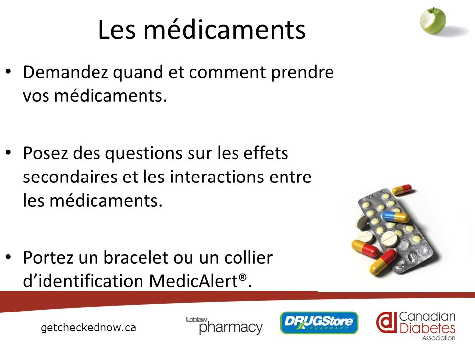 Les médicaments Demandez quand et comment prendre vos médicaments.