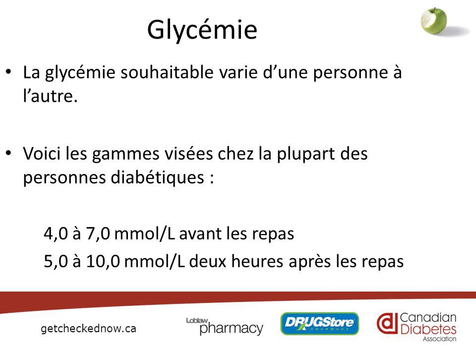 Glycémie La glycémie souhaitable varie d'une personne à l'autre.