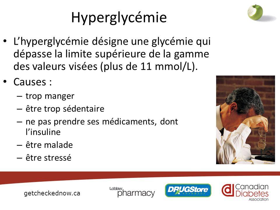 HyperglycémieL'hyperglycémie désigne une glycémie qui dépasse la limite supérieure de la gamme des valeurs visées (plus de 11 mmol/L).