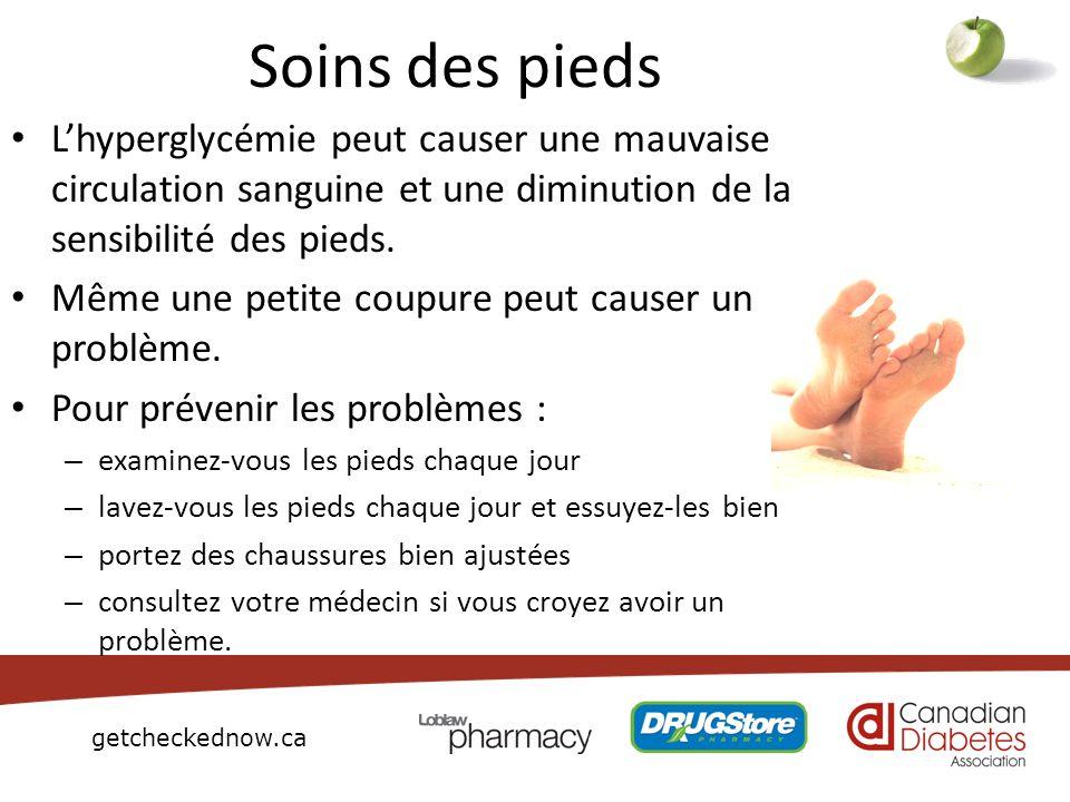 Soins des piedsL'hyperglycémie peut causer une mauvaise circulation sanguine et une diminution de la sensibilité des pieds.