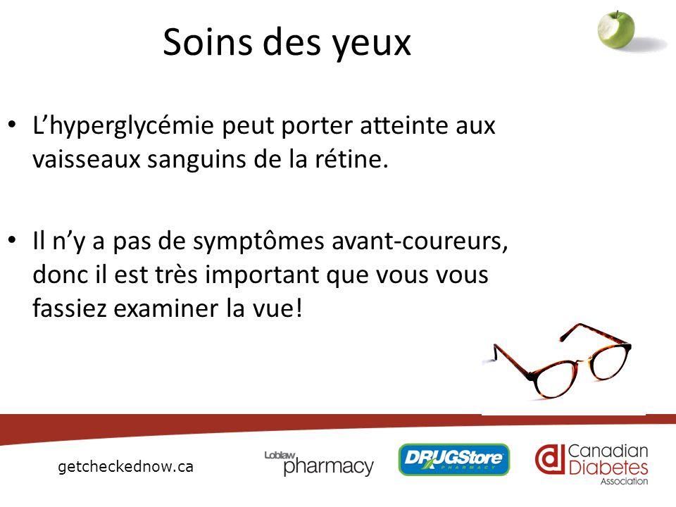 Soins des yeuxL'hyperglycémie peut porter atteinte aux vaisseaux sanguins de la rétine.