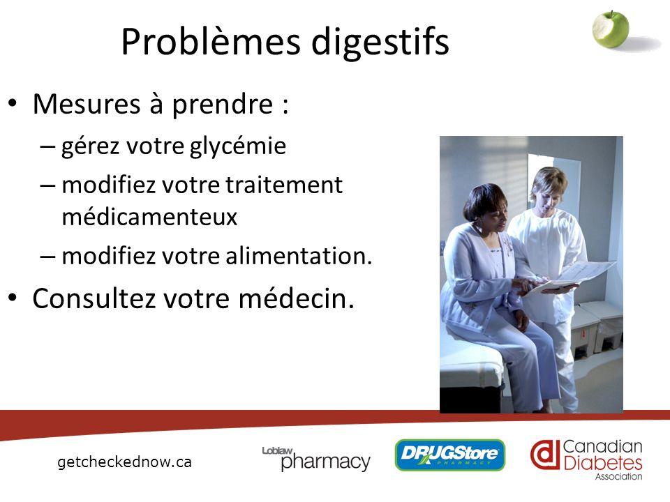 Problèmes digestifs Mesures à prendre : Consultez votre médecin.