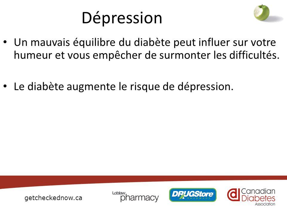 DépressionUn mauvais équilibre du diabète peut influer sur votre humeur et vous empêcher de surmonter les difficultés.