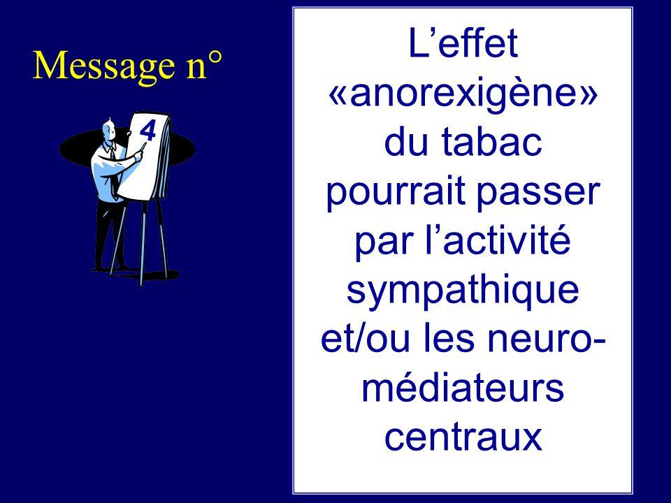 L'effet «anorexigène» du tabac pourrait passer par l'activité sympathique et/ou les neuro-médiateurs centraux