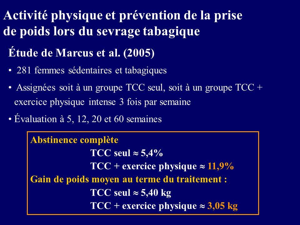 Activité physique et prévention de la prise de poids lors du sevrage tabagique