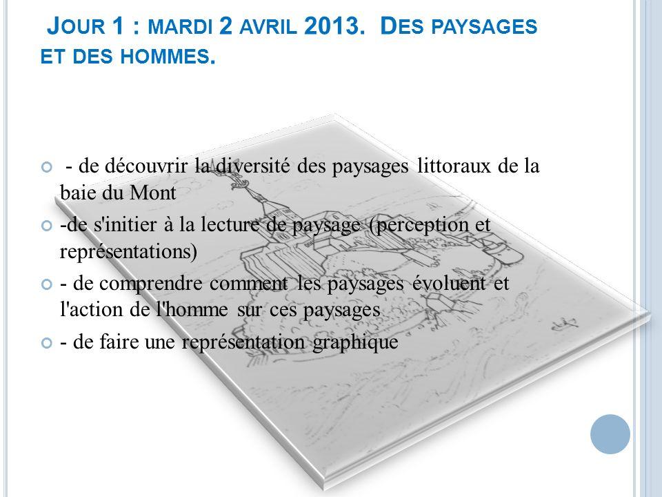 Jour 1 : mardi 2 avril 2013. Des paysages et des hommes.