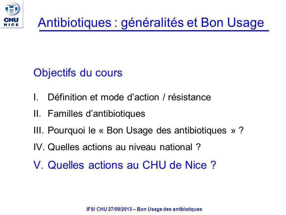 IFSI CHU 27/09/2013 – Bon Usage des antibiotiques