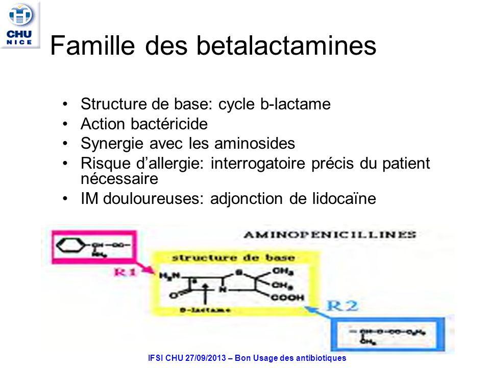 Famille des betalactamines