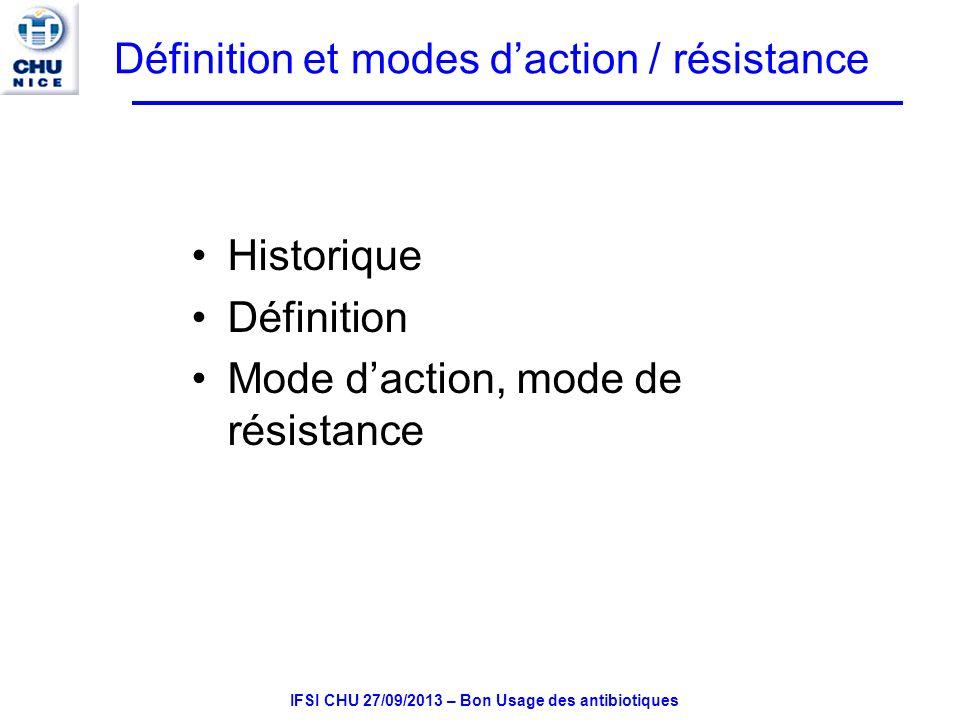 Définition et modes d'action / résistance