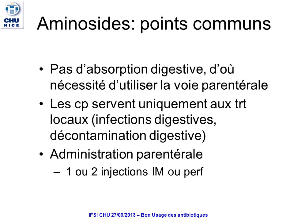 Aminosides: points communs