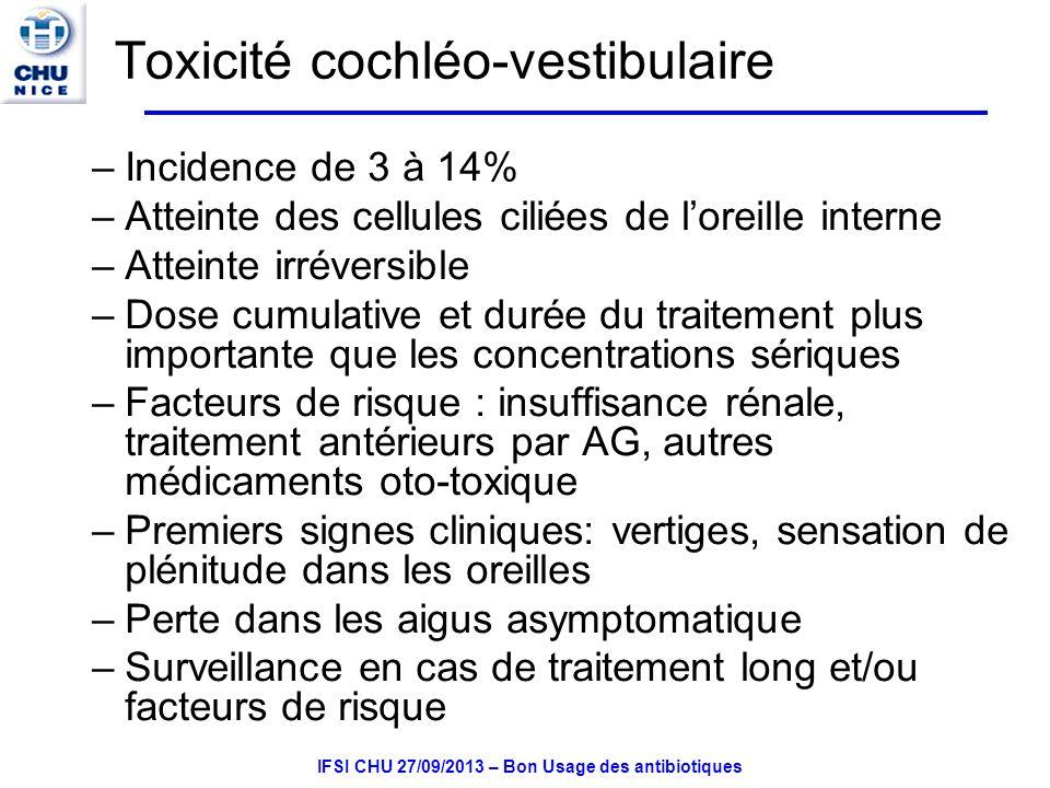 Toxicité cochléo-vestibulaire