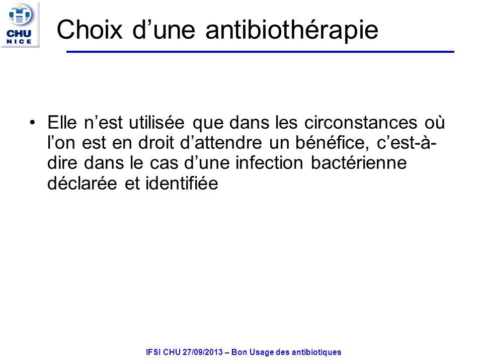 Choix d'une antibiothérapie