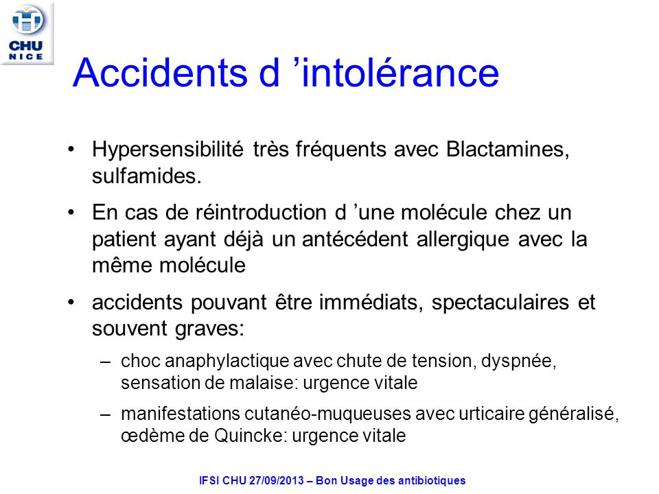 Accidents d 'intolérance