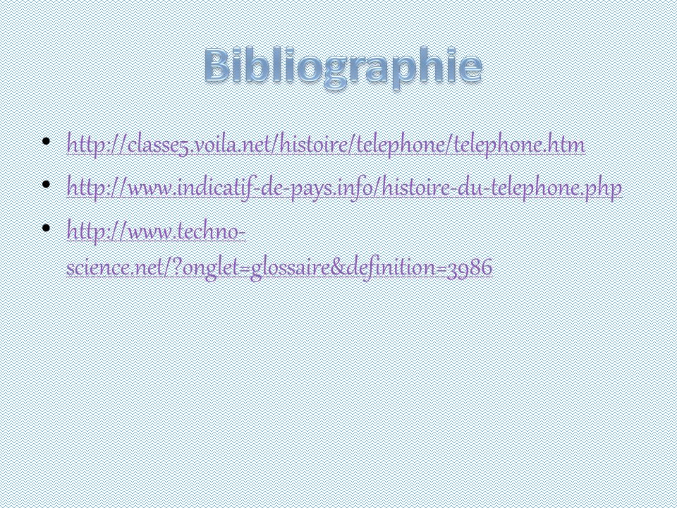 Bibliographie http://classe5.voila.net/histoire/telephone/telephone.htm. http://www.indicatif-de-pays.info/histoire-du-telephone.php.