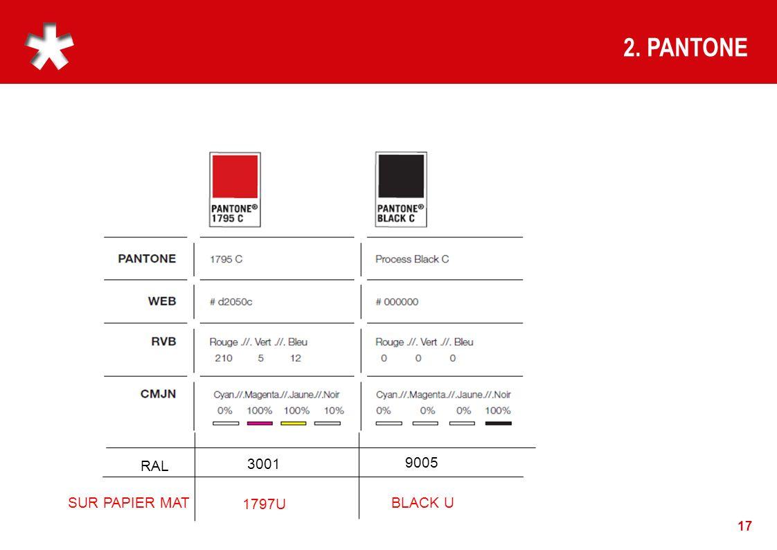 2. PANTONE RAL 3001 9005 SUR PAPIER MAT 1797U BLACK U