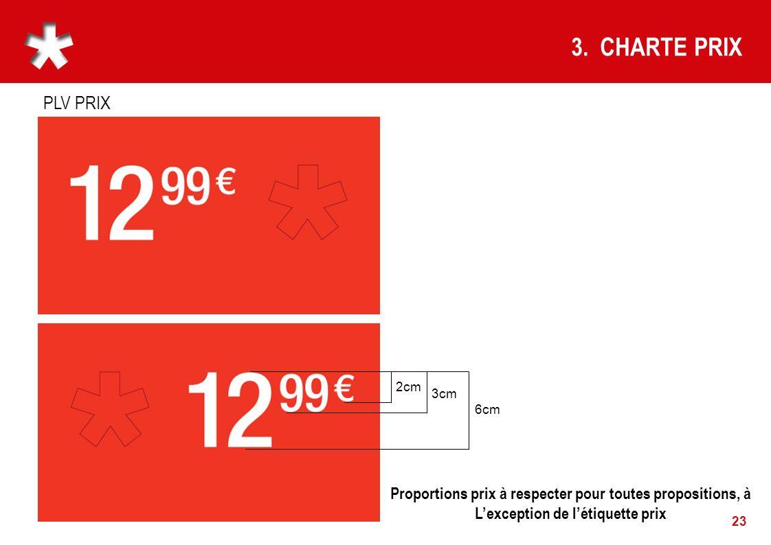 3. CHARTE PRIX PLV PRIX. 2cm. 3cm. 6cm. Proportions prix à respecter pour toutes propositions, à.