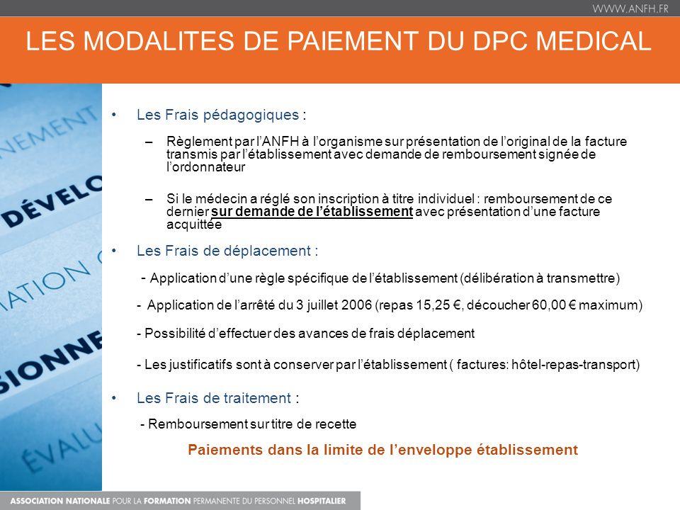 LES MODALITES DE PAIEMENT DU DPC MEDICAL