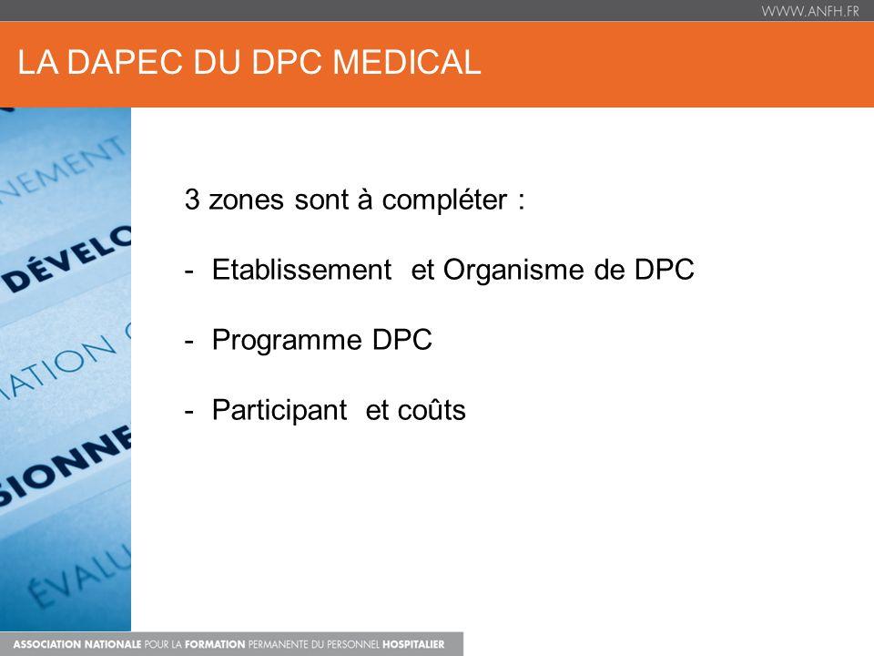 LA DAPEC DU DPC MEDICAL 3 zones sont à compléter :